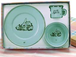 Golden Rabbit Enamelware Baby Dishes  / Robin's Egg Bunny Family Gift Set
