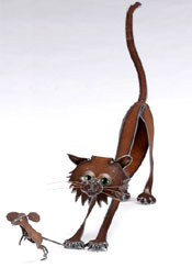 Henry Dupere Cat & Mouse Garden Sculpture
