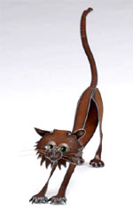 Henry Dupere Stretching Cat Garden Sculpture