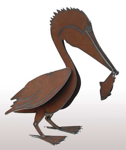 Henry Dupere Grandiose Pelican w/ Fish Garden Sculpture (Large)