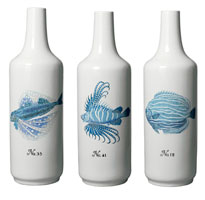 Blue Coral Fish White Vase / Set of Three