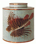Rock Fish Cloisonne Covered Tea Jar
