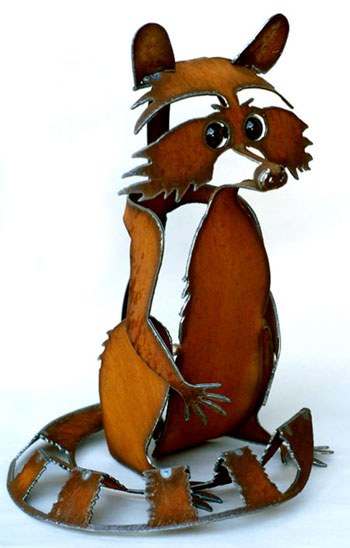 Henry Dupere Rusted Metal Raccoon Garden Sculpture