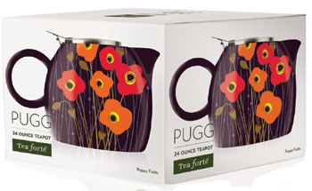 Tea Forte Pugg Ceramic Teapot / Poppy Fields