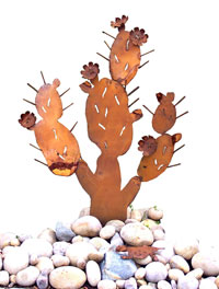 Blooming Prickly Pear Cactus Garden Sculpture with Horned Toad