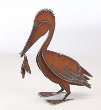 Henry Dupere Pelican w/ Fish Garden Sculpture (Small)